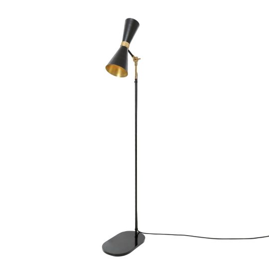 Cairo Mid-Century Contemporary Brass Floor Lamp, Powder Coated Matte Black and Polished Brass