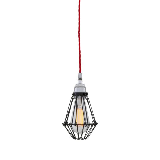Praia Black Industrial Bulb Cage Pendant Light, Red Cable