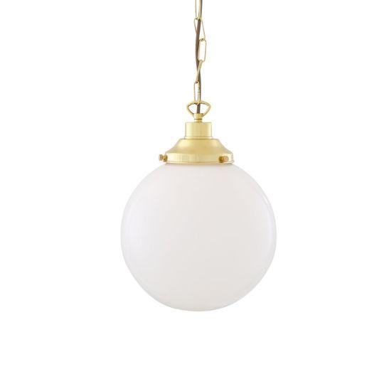 Yerevan Opal Frosted Glass Globe Pendant Light 25cm, Polished Brass