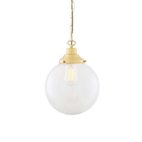 Riad Clear Glass Globe Pendant Light 25cm, Satin Brass