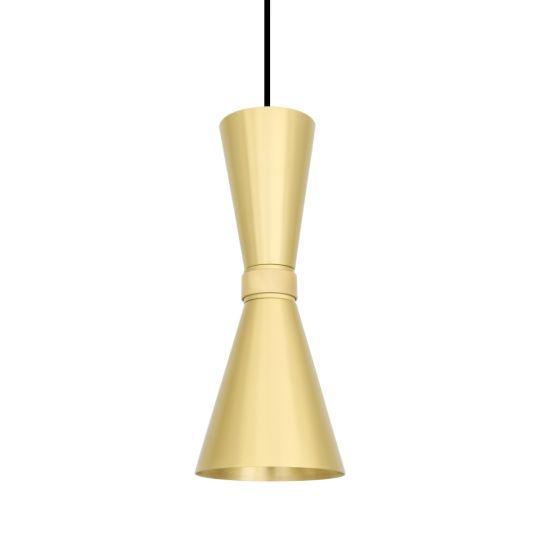 Amias Mid-Century Brass Conical Pendant Light, Satin Brass