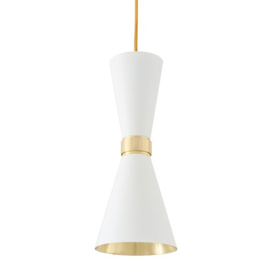 Cairo Mid-Century Brass Pendant Light, Polished Brass and White