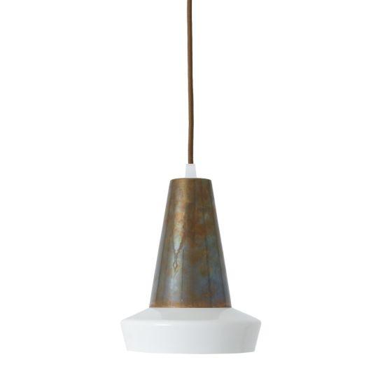 Malabo White and Antique Brass Pendant Light 16cm