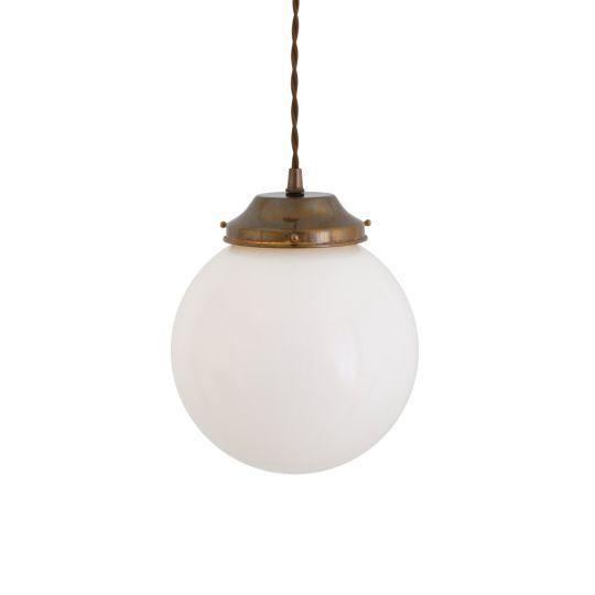 Gentry Small Opal Glass Globe Pendant Light 20cm, Antique Brass