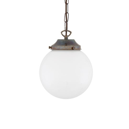 Yerevan Small Opal Globe Pendant Light 20cm, Antique Brass