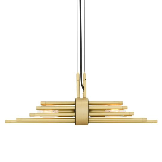 Victoria Modern Brass Sleeve Pendant Light, Satin Brass