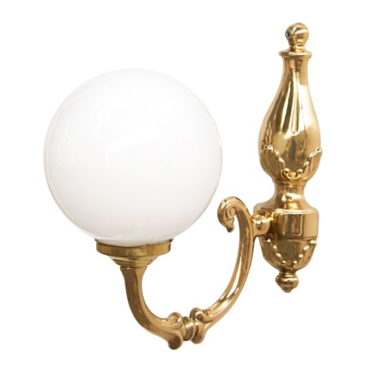 Cloghan Traditional Opal Glass Globe Wall Light, Polished Brass