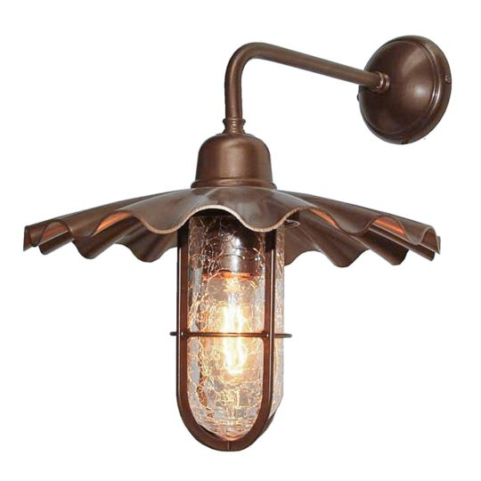 Ardle A Vintage Well Glass Bathroom Wall Light IP65, Bronze and Antique Brass, Crackled Glass