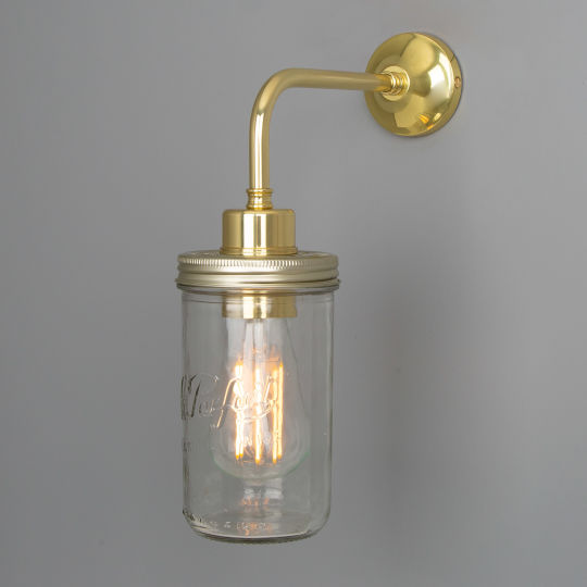 Vintage Jam Jar Glass Wall Light, Polished Brass