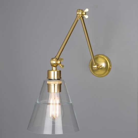 Lyx Clear Glass Cone Adjustable Arm Wall Light, Polished Brass
