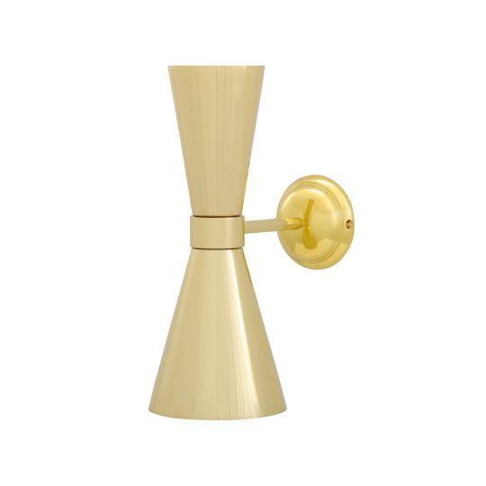 Amias Mid-Century Double Brass Cone Wall Light, Polished Brass