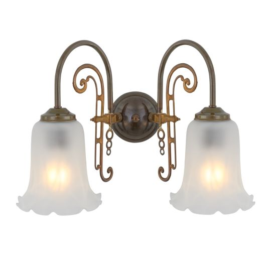 Medan Two-Arm Wall Light with Etched Glass Shades, Antique Brass