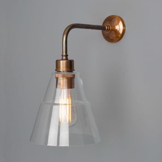 Lyx Clear Glass Cone Modern Wall Light, Antique Brass