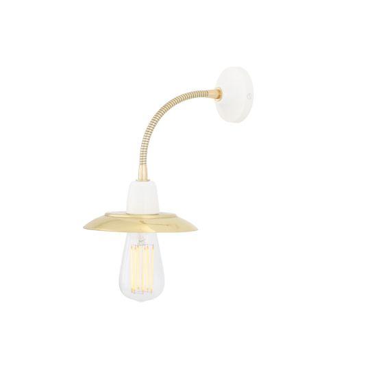 Doon Flexible Gooseneck Wall Light with Brass Shade, White