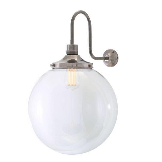Riad Clear Glass Globe Swan Neck Wall Light 35cm, Antique Silver