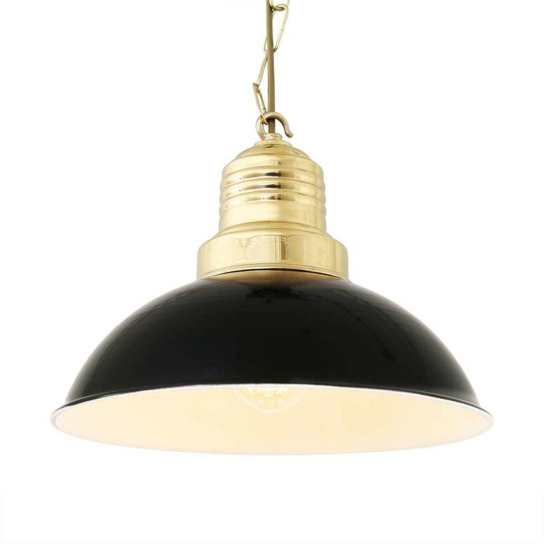 Abele Modern Vintage Factory Pendant Light 30cm, Black & Polished Brass Top