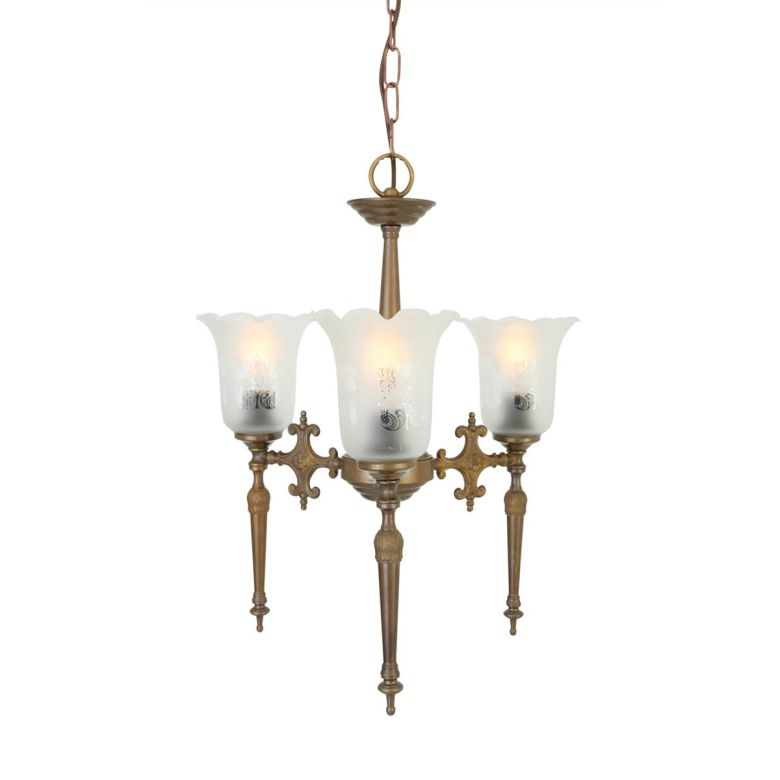 Allen Traditional Etched Glass Chandelier, Three-Arm