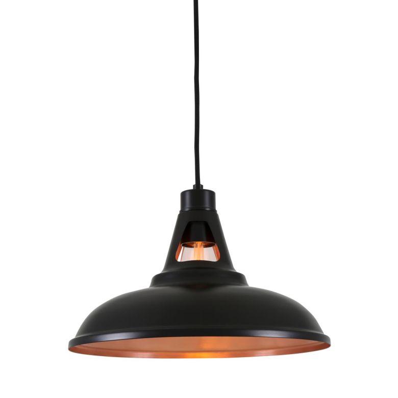 Alma Vintage Pendant Light 31cm, Matt Black and Satin Copper