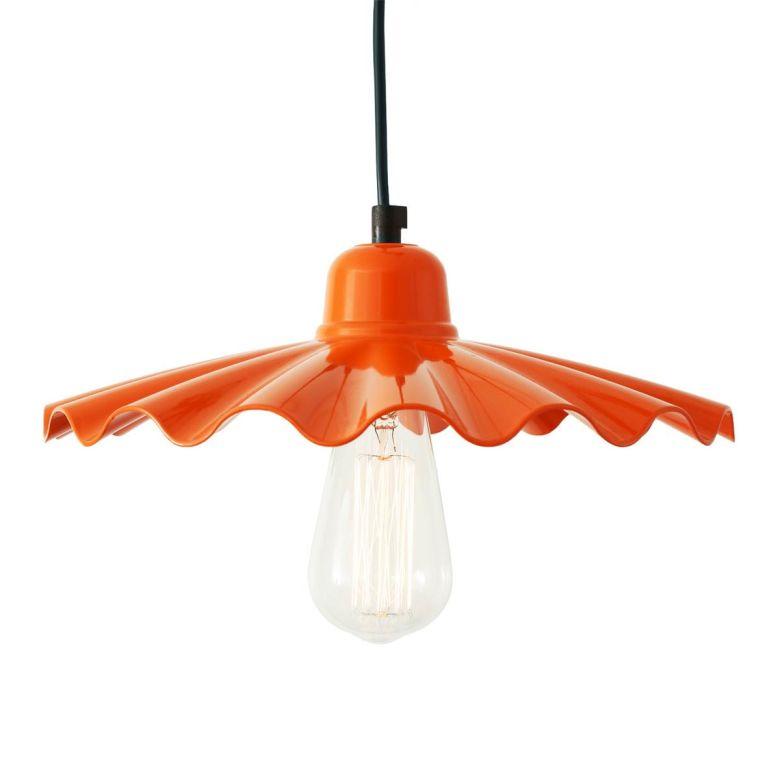 Ardle Modern Ripple Shade Factory Pendant Light 30cm, Orange