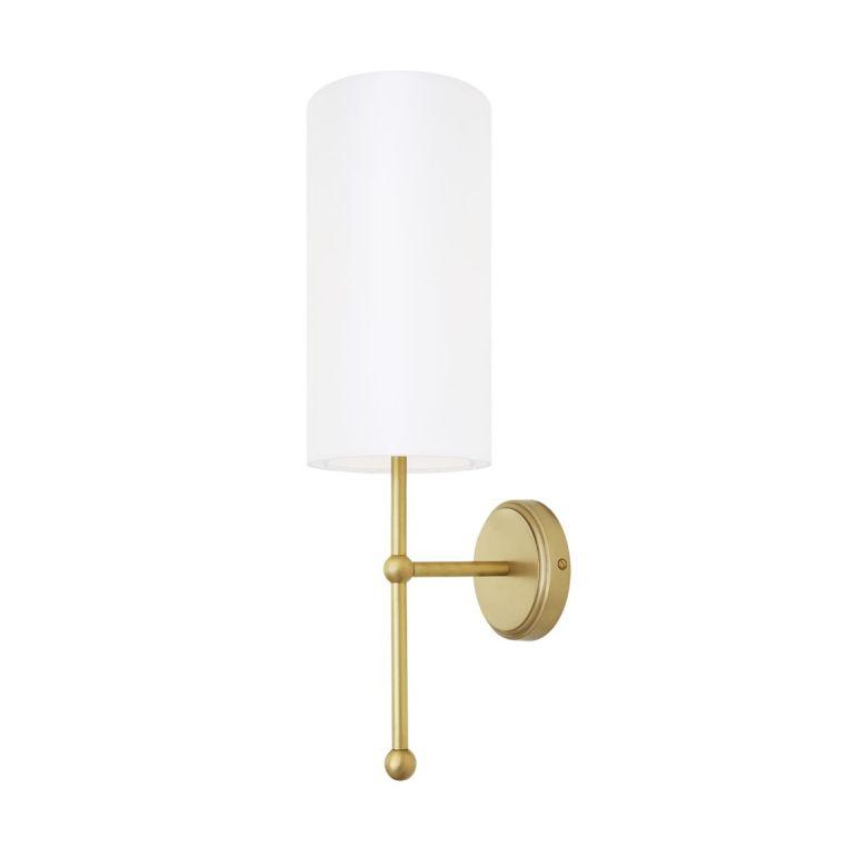 Arizona Brass Wall Light with Tall Fabric Shade, Satin Brass