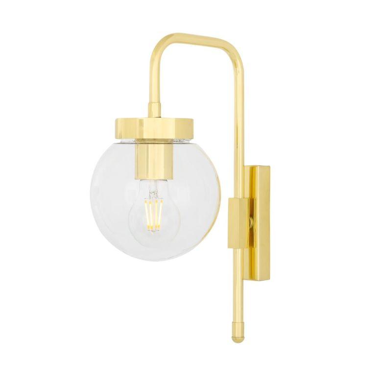 Auburn Modern Clear / Opal Globe Wall Light 15cm, Polished Brass