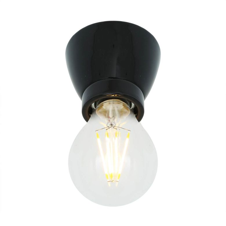 Baltimore Ceramic Bare Bulb Flush Ceiling Light, Powder Coated Black
