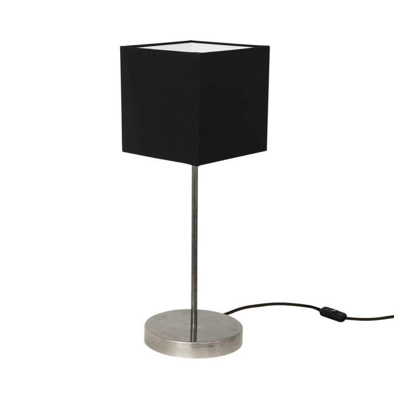 Bedal Contemporary Table Lamp with Black Fabric Shade, Antique Silver