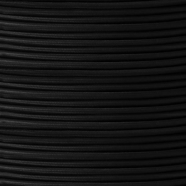 Câble noir flexible rond et tressé à 2 brins