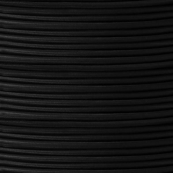Câble noir flexible tressé en caoutchouc à 2 brins