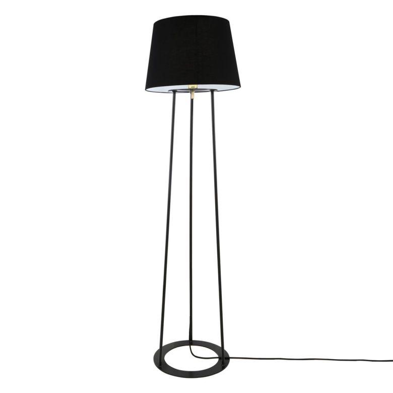 Borris Three-legged Contemporary Steel Floor Lamp, with Black Fabric Shade