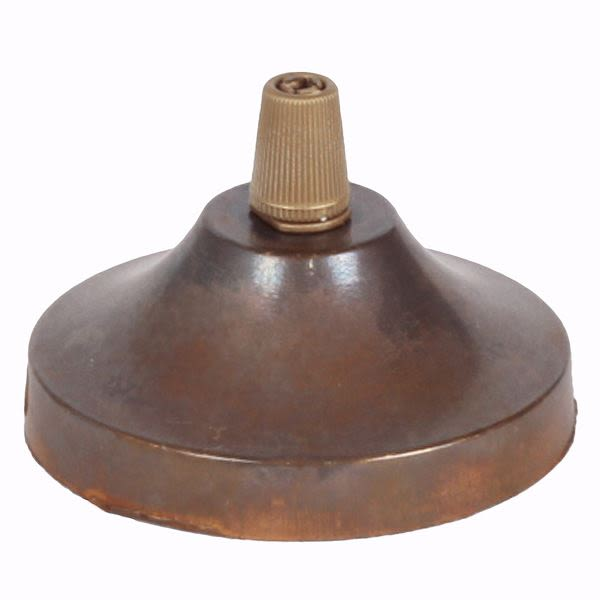 Brass ceiling rose light fitting, concave with cord grip