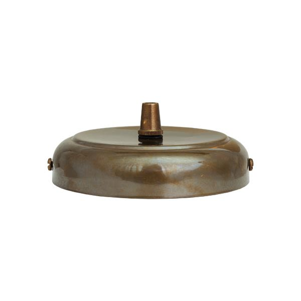 Brass ceiling rose light fitting, rounded with cord grip