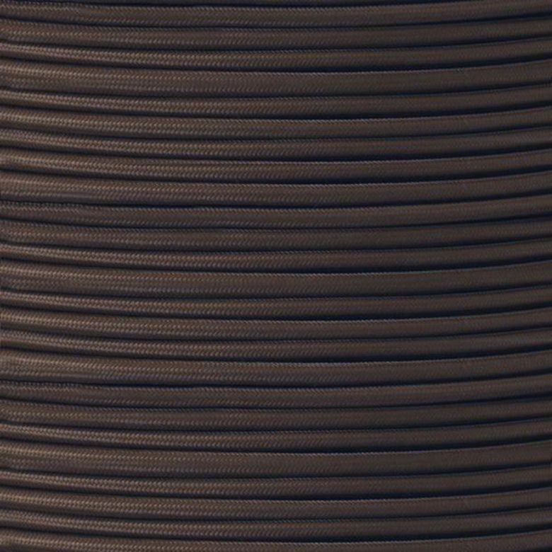 Câble en caoutchouc tressé en tissu brun, 2 conducteurs