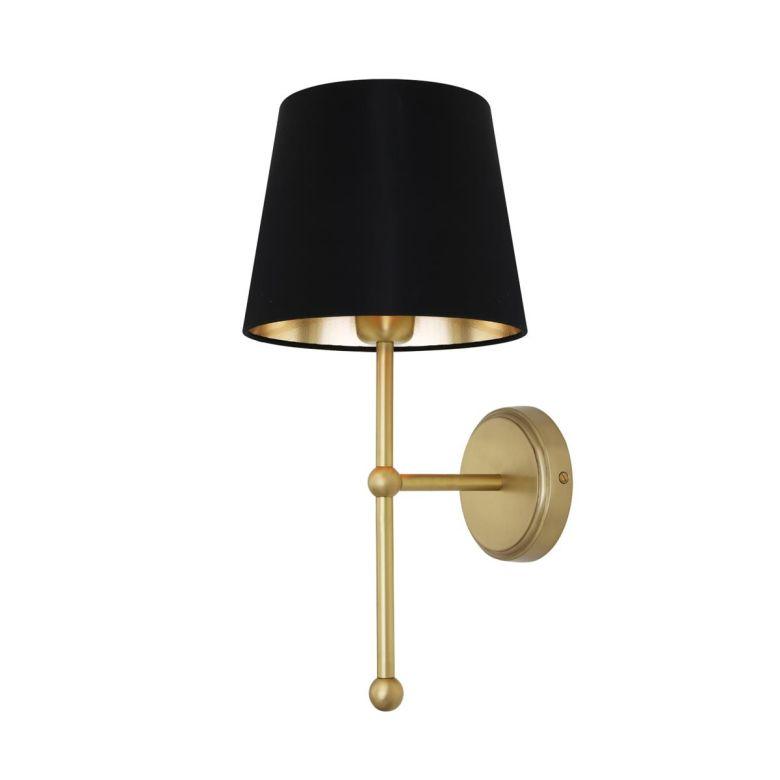 California Modern Brass Wall Light with Fabric Shade, Satin Brass