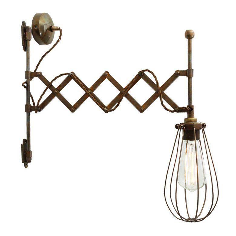 Calis Extending Scissor Arm Cage Wall Light, Antique Brass and Bronze Cage