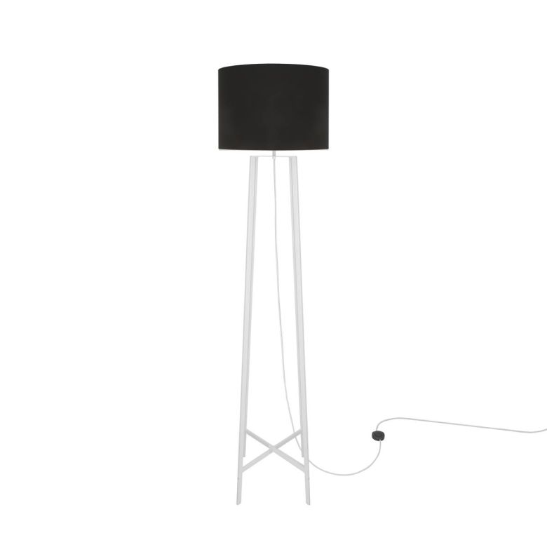 Callan Metal Quad Pod Floor Lamp with Black Fabric Shade