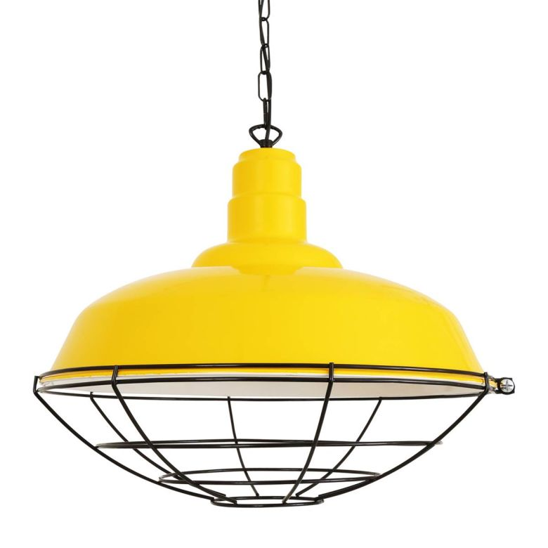 Cobal Large Industrial Cage Pendant Light 53cm, Powder Coated Yellow