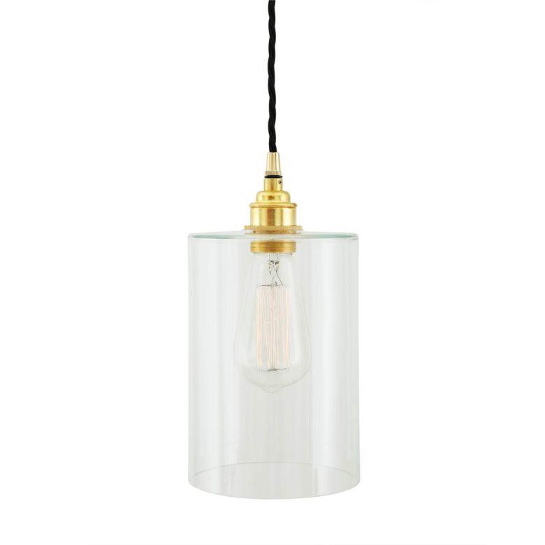 Dalat Clear Glass Cylinder Pendant Light 14cm, Polished Brass