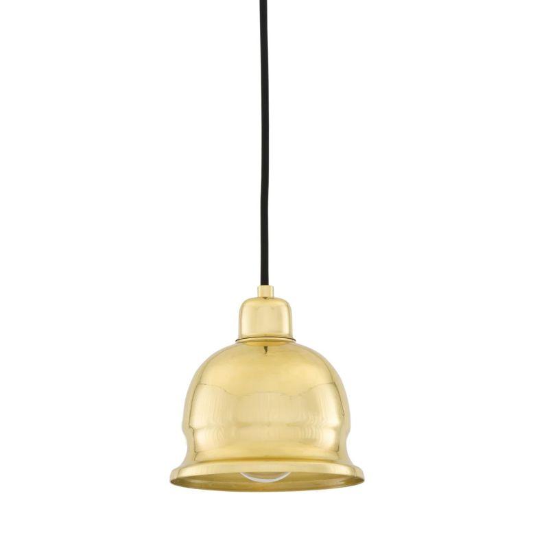 Dale Vintage Brass Bell-Shaped Pendant Light 15cm, Polished Brass