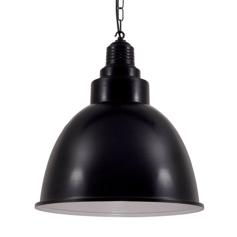 Danicaans Large Industrial Factory Pendant Light, Powder Coated Black