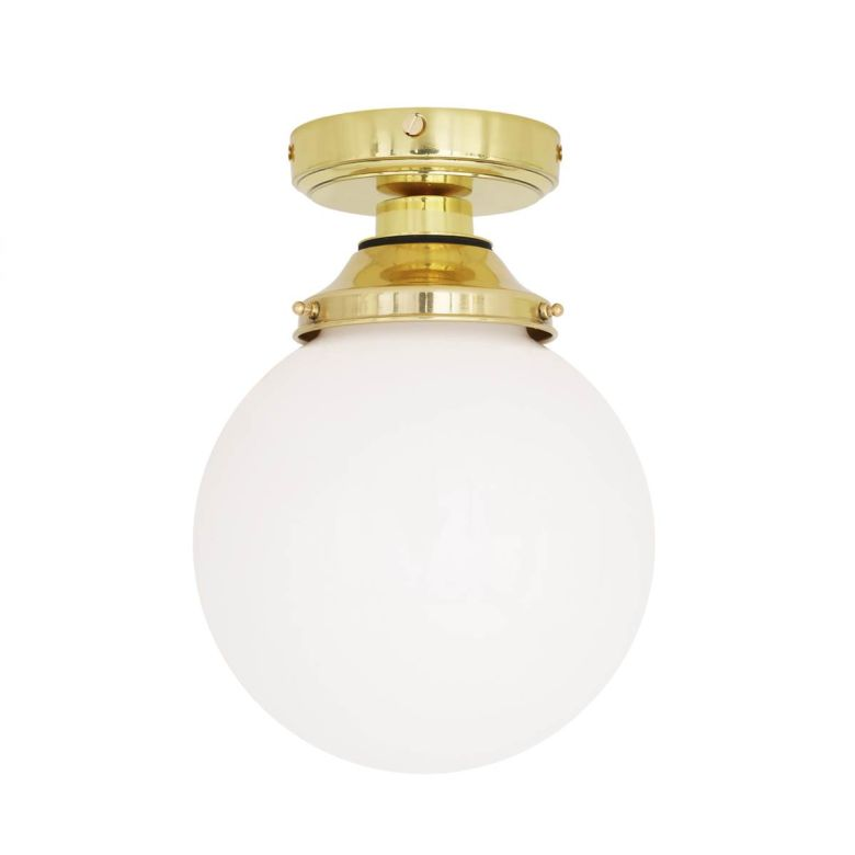Deniz Opal Globe Bathroom Ceiling Light 20cm IP44
