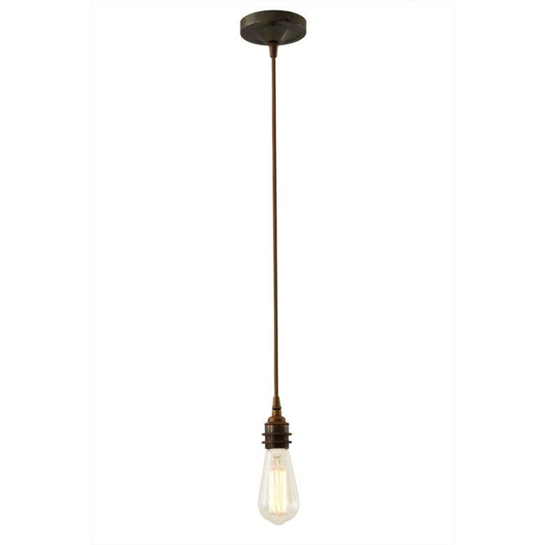 Dili Vintage Bare Bulb Pendant Light, Antique Brass