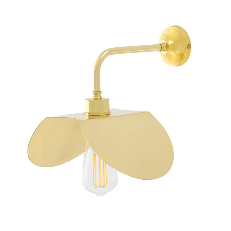 Dodoma Modern Wall Light with Angled Brass Shade, Polished Brass