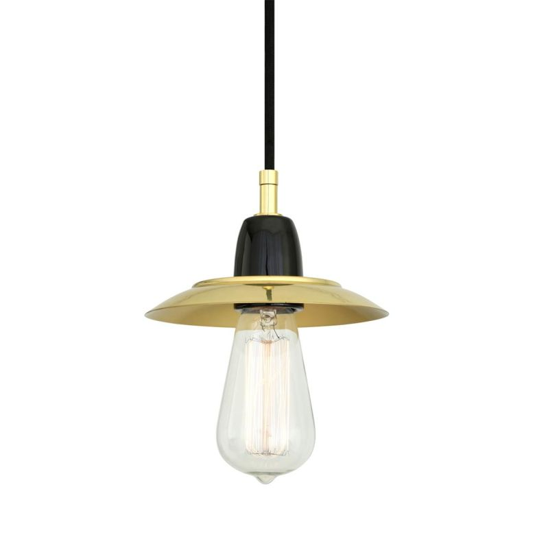 Doon Ceramic Pendant Light with Brass Shade, Black and Polished Brass