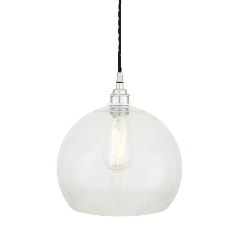 Eden Clear Open Glass Globe Pendant Light 25cm, Polished Chrome