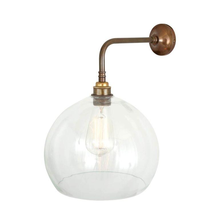 Eden Clear Open Glass Globe Wall Light 25cm, Antique Brass