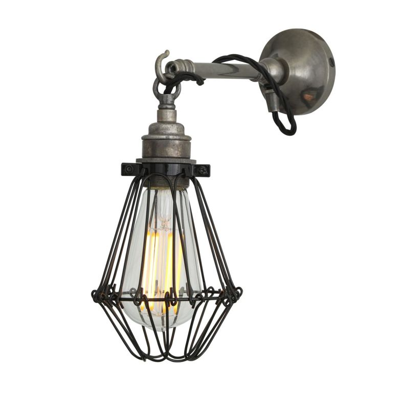 Edom Industrial Cage Wall Light on Hook, Antique Silver and Black Cage