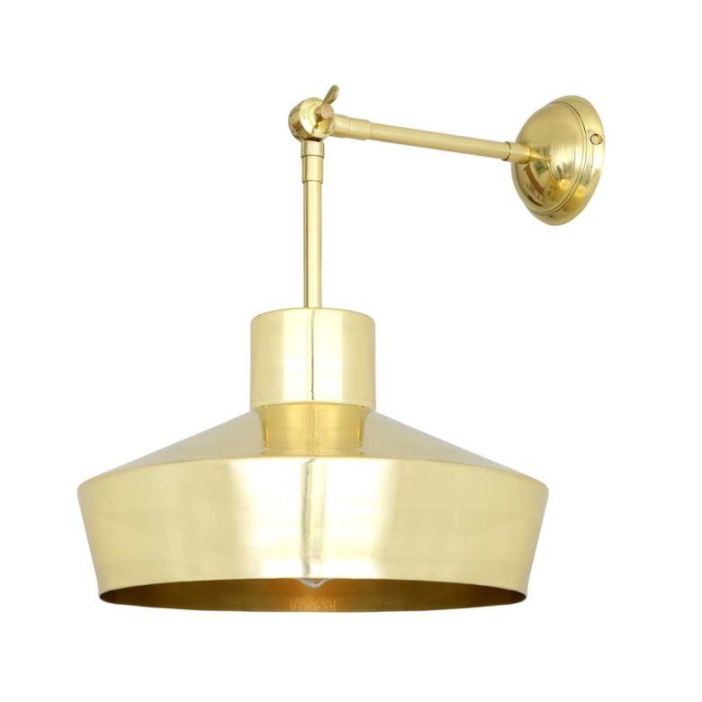Elegance Modern Wall Light with Brass Shade 34cm, Polished Brass