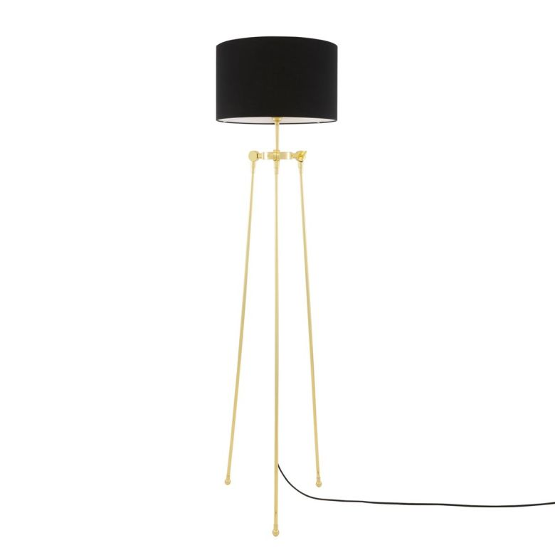 Erill Tripod Brass Floor Lamp with Drum Black Fabric Shade, Polished Brass