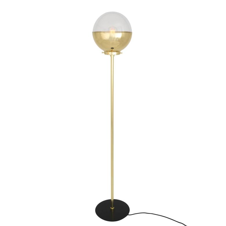 Florence Elegant Clear Globe Floor Lamp, Polished Brass and Powder Coated Black Base